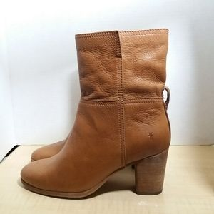Frye Mid Calf Ankle Boots Cognac Color